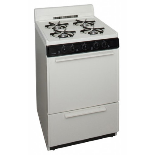 "Premier 24"" Gas Range-Biscuit on Black"